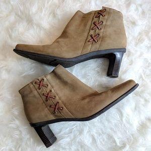 Etienne Aigner Tan Heeled Zip Booties - Size 9.5